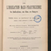 De l'irrigation naso-pharyngienne - ses indications, son abus, ses dangers
